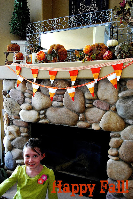 reversible candy corn fabric garland