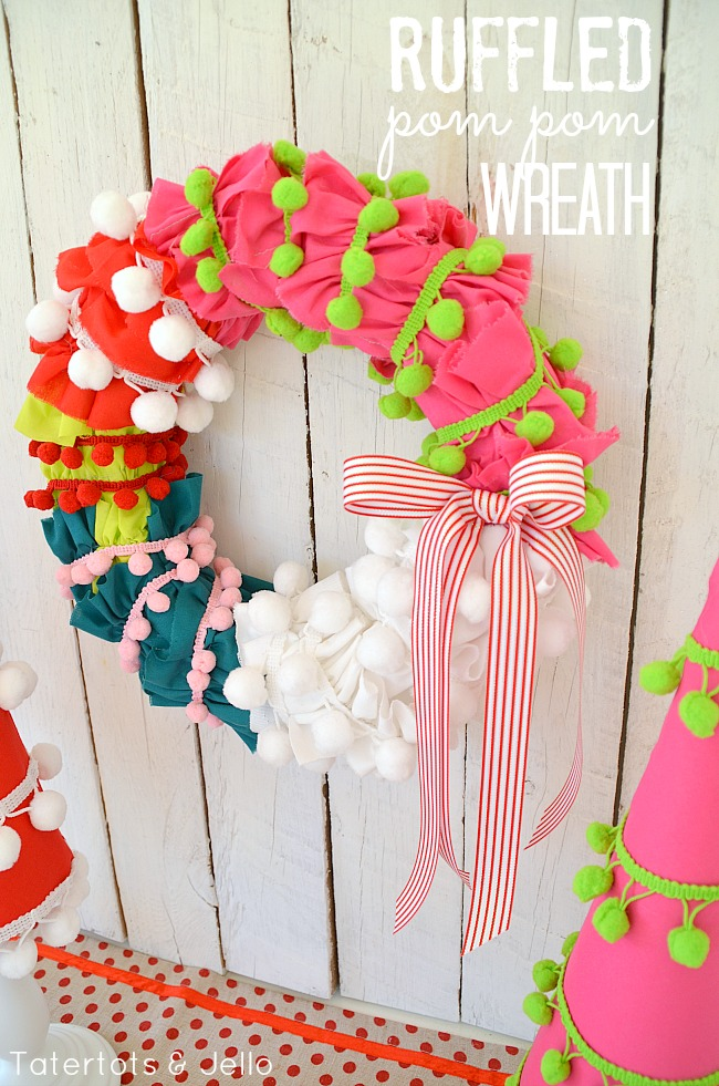 holiday ruffled pom pom wreath tutorial