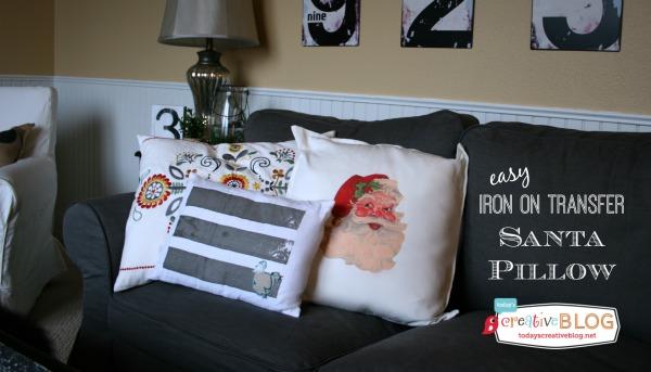 Happy Holidays: Iron On Transfer Santa Pillow