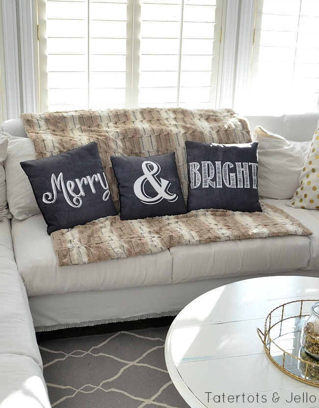 merry and bright printable pillows holidays