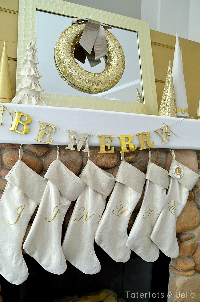 metallic mantel and stockings