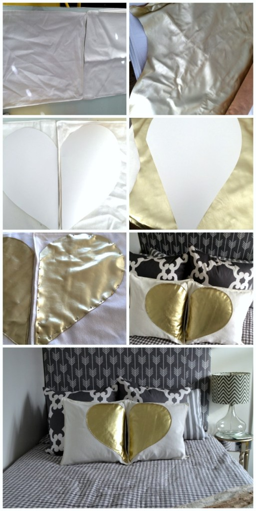 aking the gold heart pillows