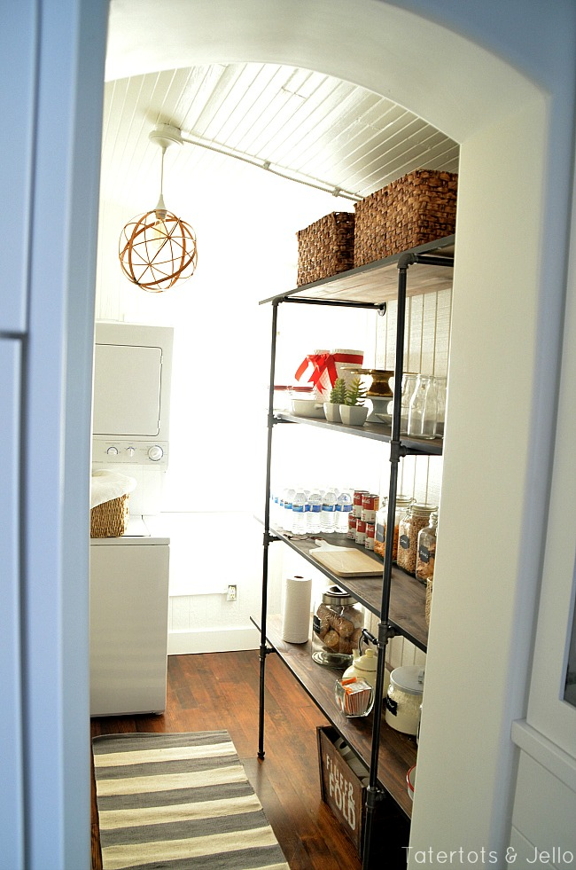 industrial shelves in a pantry