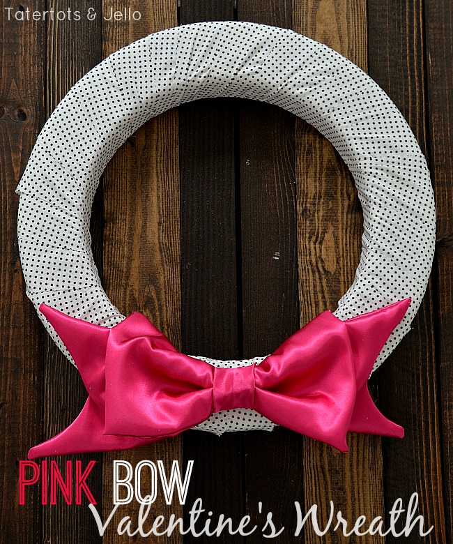 pink bow valentine wreath tutorial at tatertots and jello