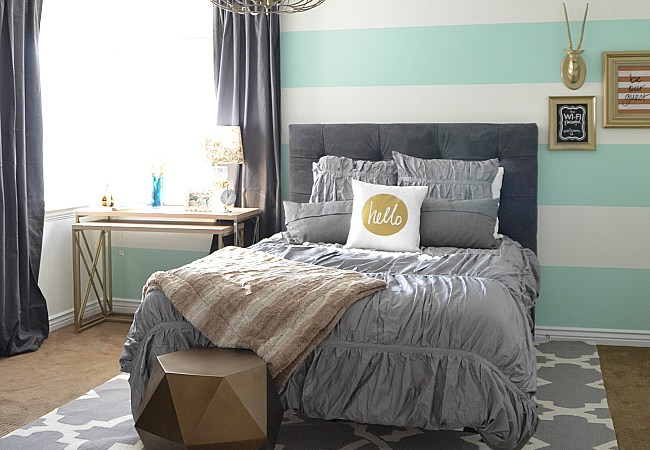 Striped Wall Guest Bedroom – Reveal!