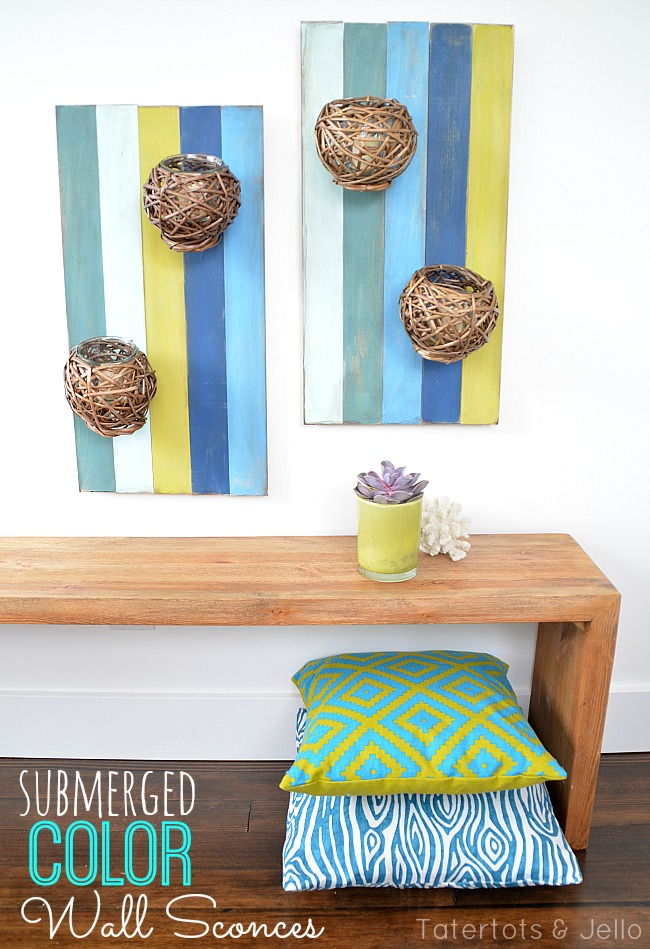 submerged color wall sconces DIY at tatertots and jello