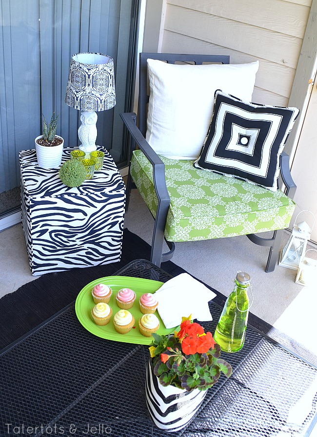 BHG Patio Makeover black white and green