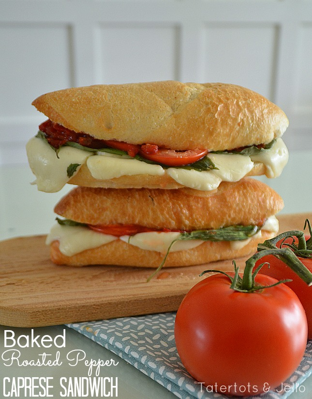 baked roasted pepper caprese sandwich