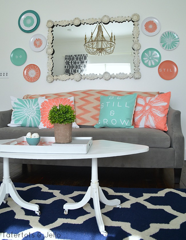 be still flower plate wall and pillows