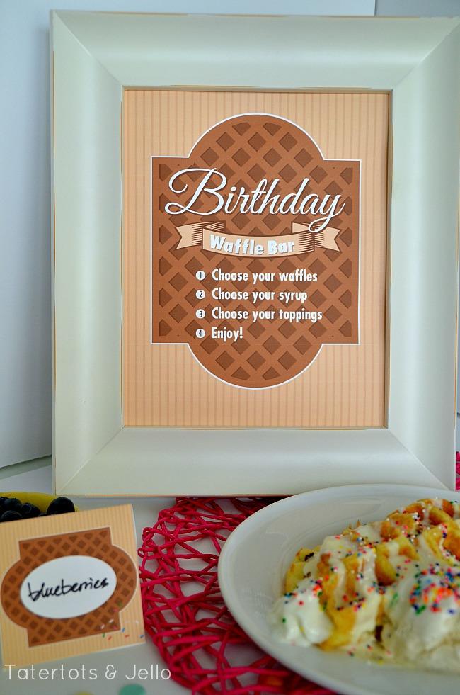 birthday waffle bar printable and waffle crepes at tatertots and jello