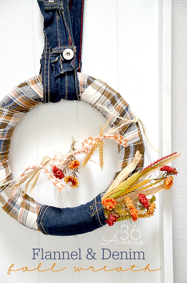 flannel and denim fall wreath