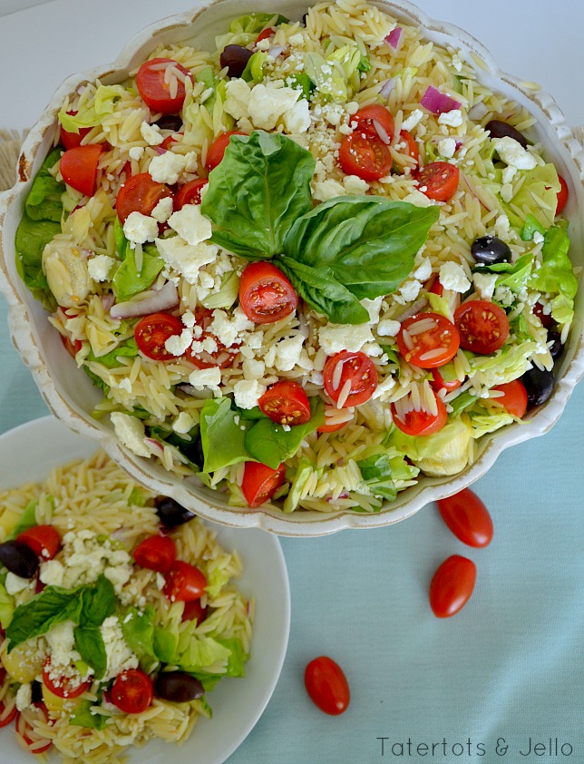 greek orzo pasta salad recipe at tatertots and jello