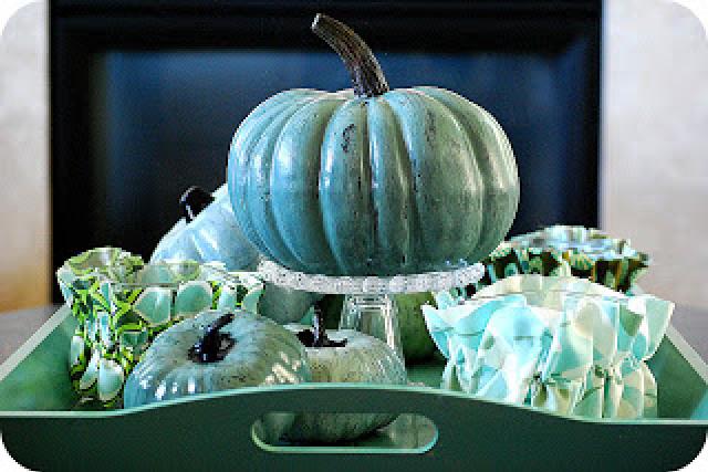 crackled dollar store pumpkins