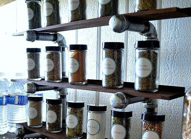 Make an Easy Industrial Spice Rack! #LowesCreator