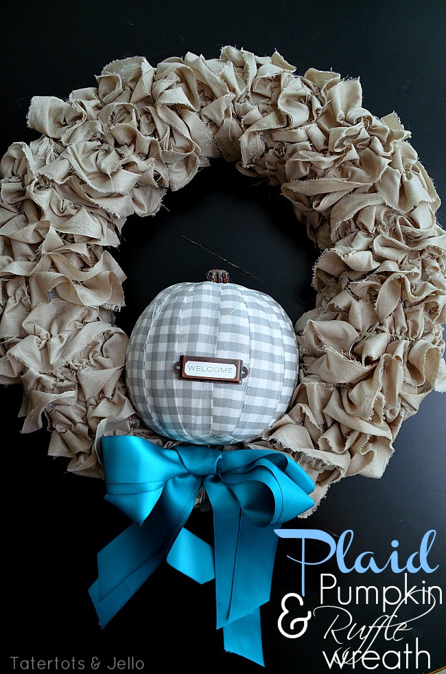 plaid pumpkin ruffle wreath