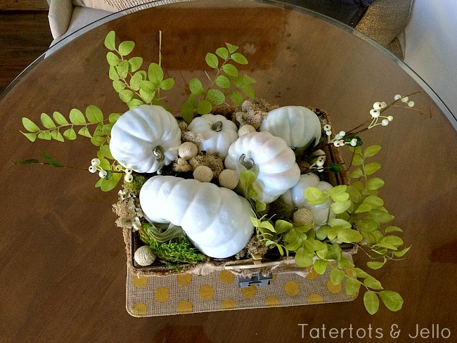 white pumpkin centerpiece basket at tatertots and jello