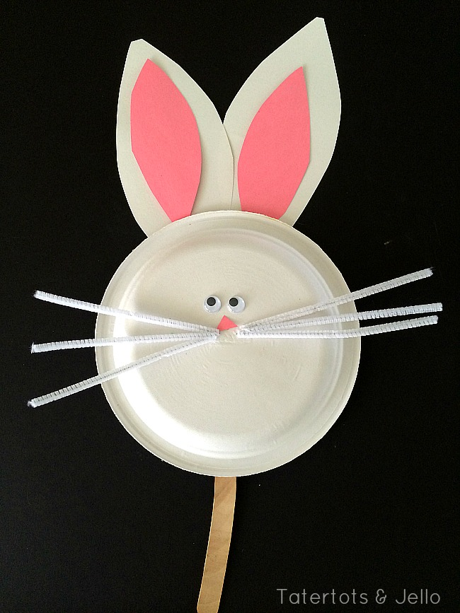 bunny paper plate mask & Easy Paper Plate Halloween Masks! - Tatertots and Jello