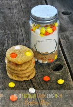 White Chocolate Candy Corn M&M Cookie Mix in a Jar