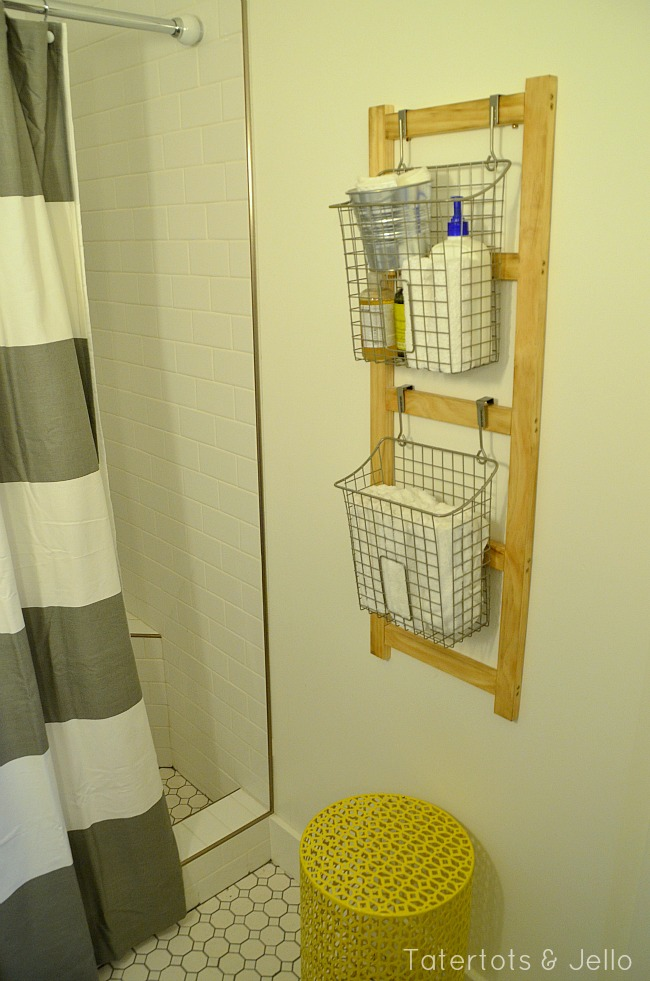 diy ladder organizer tutorial at tatertots and jello