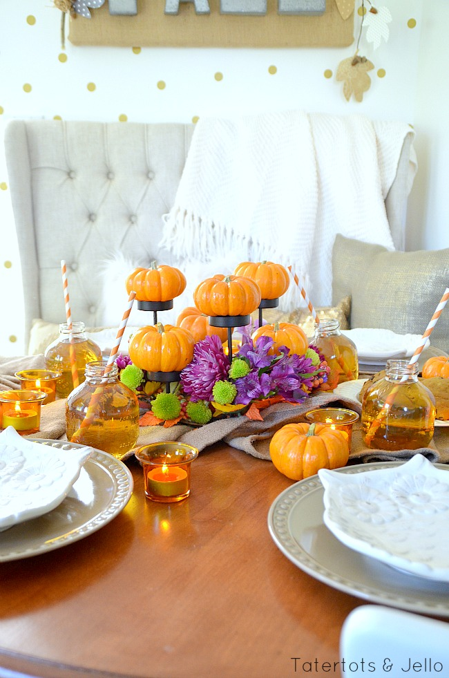 fall pumpkin centerpiece idea at tatertots and jello