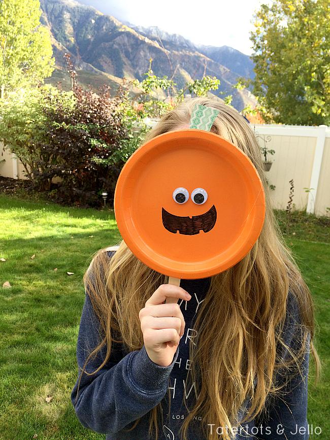 paper plate pumpkin mask at tatertots and jello & Easy Paper Plate Halloween Masks! - Tatertots and Jello