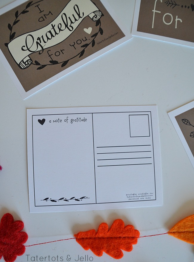 gratitude postcards at tatertots and jello free thanksgiving printables