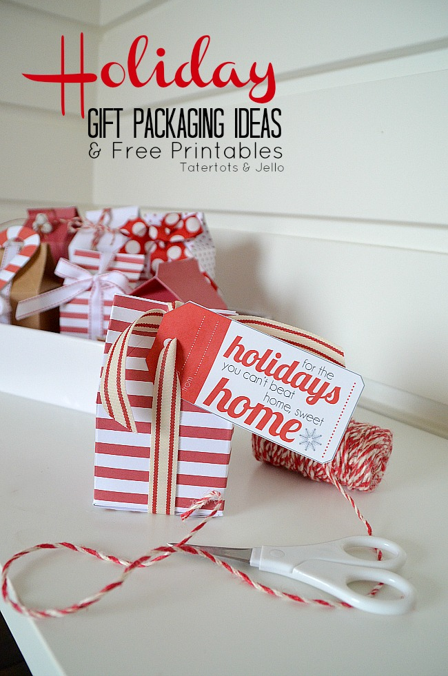 holiday gift packaging ideas and free printables at tatertots and jello