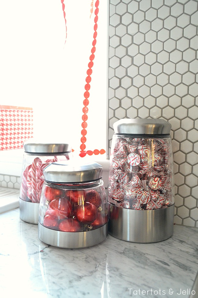 red and white snack station at tatertots and jello
