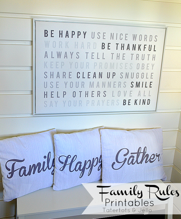modern family rules printables and pillows at tatertots and jello