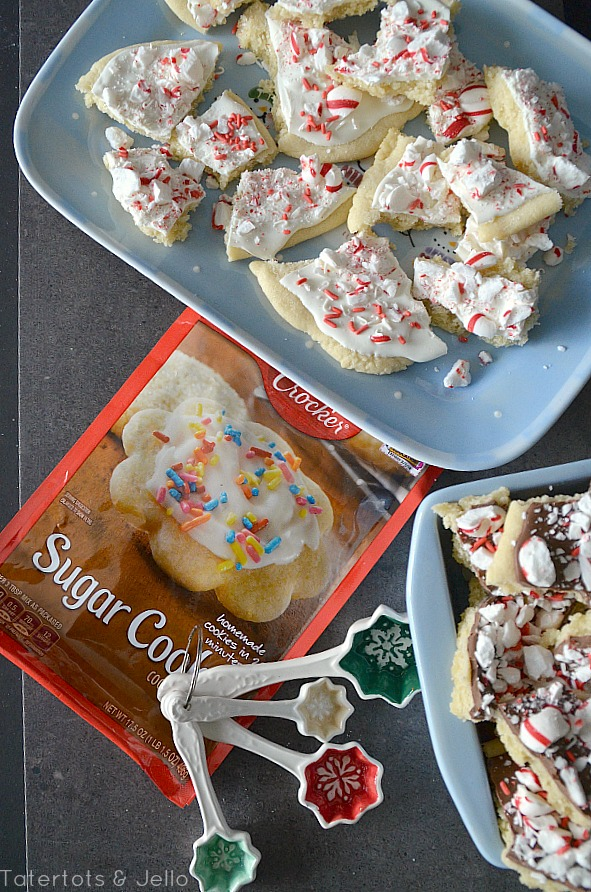 peppermint sugar cookie bark using a mix