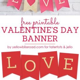 Free Printable Love Valentine S Day Glitter Banner