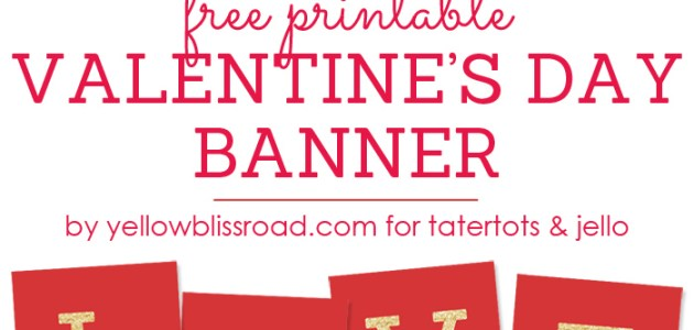 free printable love valentines day glitter banner