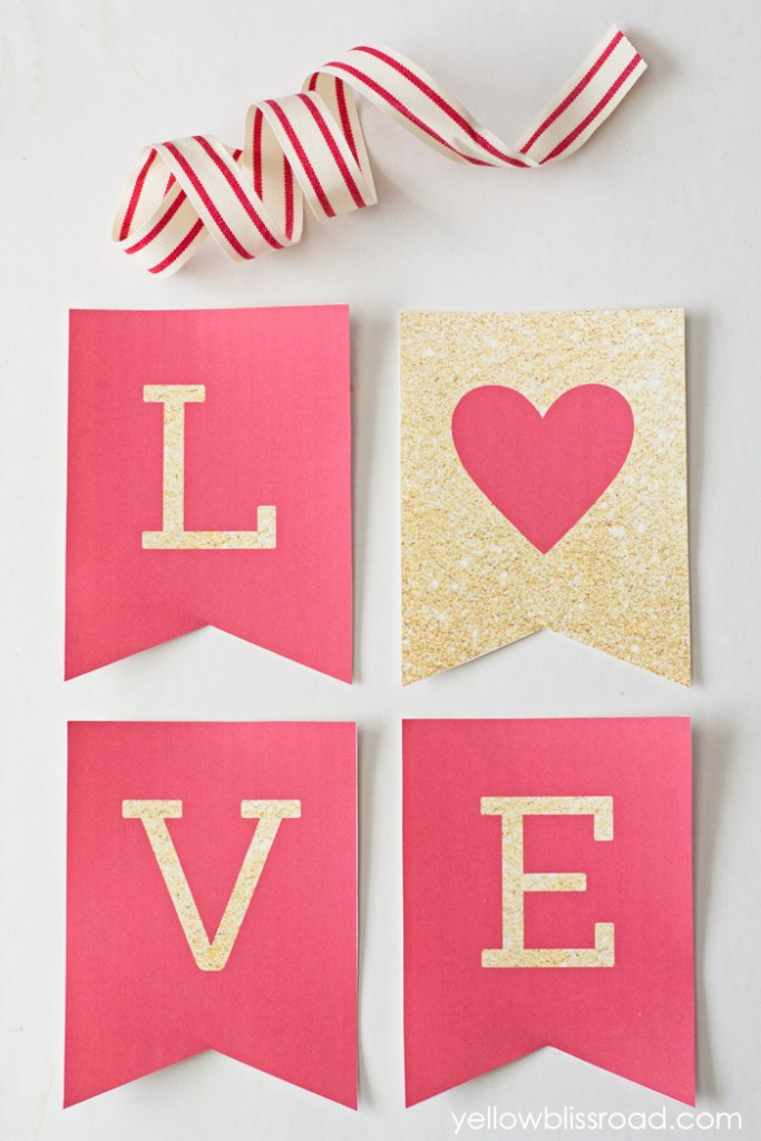 Free Printable LOVE Valentine's Day Banner. Decorate your home with this free printable banner. Just download it, print it out and hang it up! So easy!
