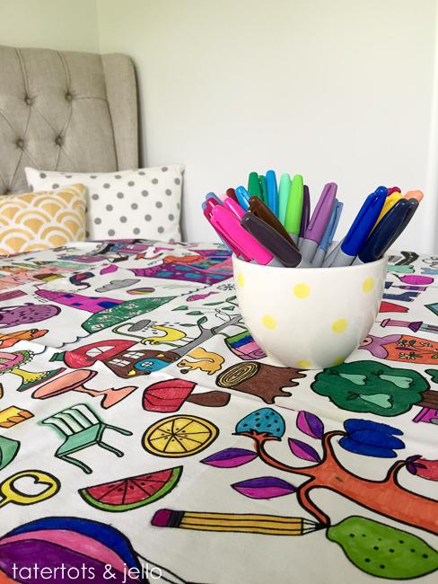 Easy Kids\' Activity Idea — Tablecloth Coloring! - Tatertots and Jello