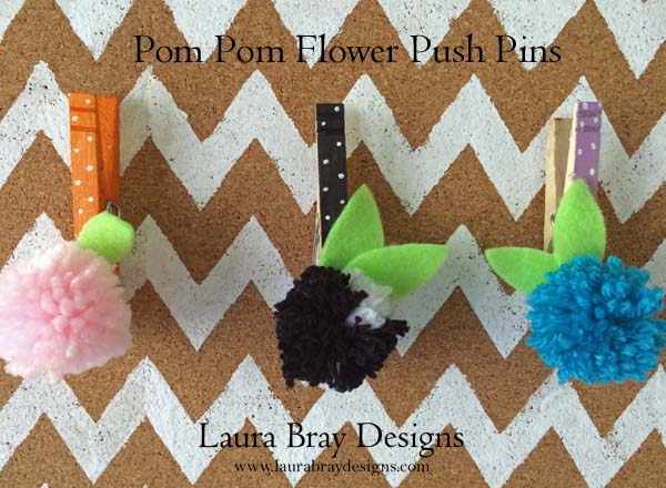 Pom-Pom-Flower-Push-Pins