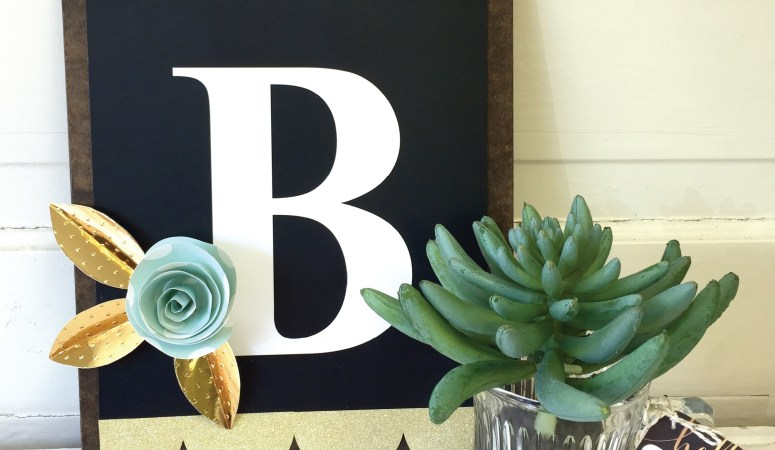 DIY Clipboard Monogram and 3-Dimensional Paper Flower Tutorial!