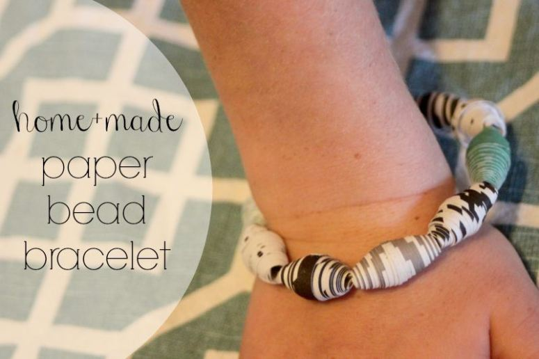 Paper bracelets kid craft and a month of easy kid crafts you can make at home.