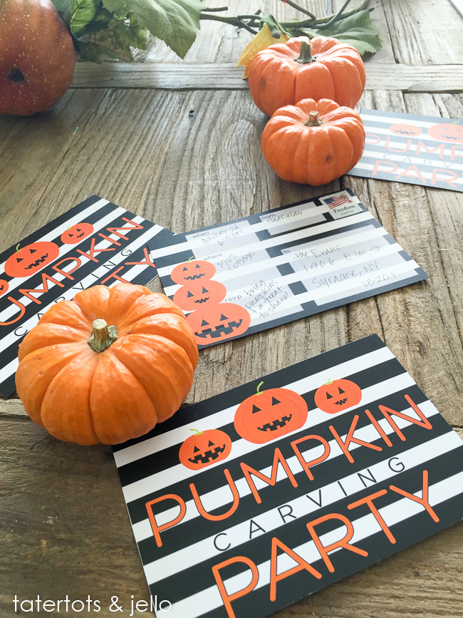 Create Halloween memories with a Pumpkin Carving Party. Free printable invitations.