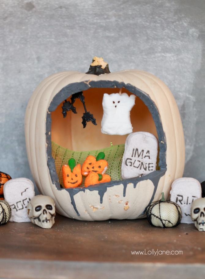 Peeps Halloween Diorama Pumpkin #pumpkincraft #peeps #kidscraft