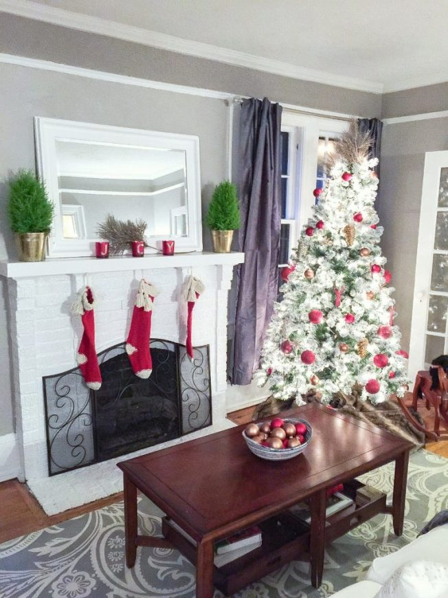 lowes holiday akeover fireplace tree