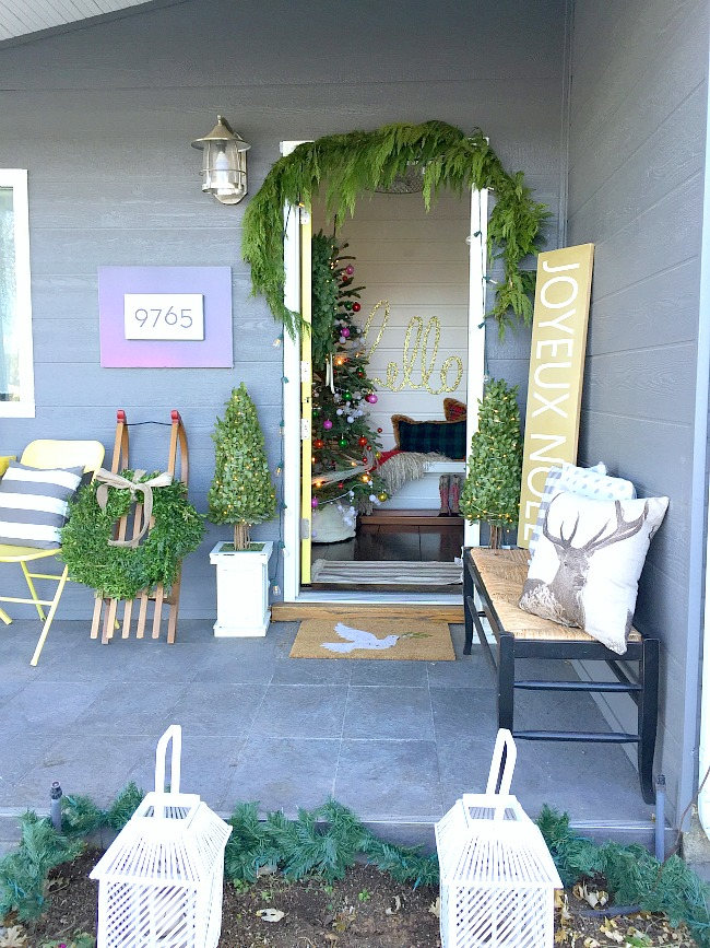 holiday green and white porch
