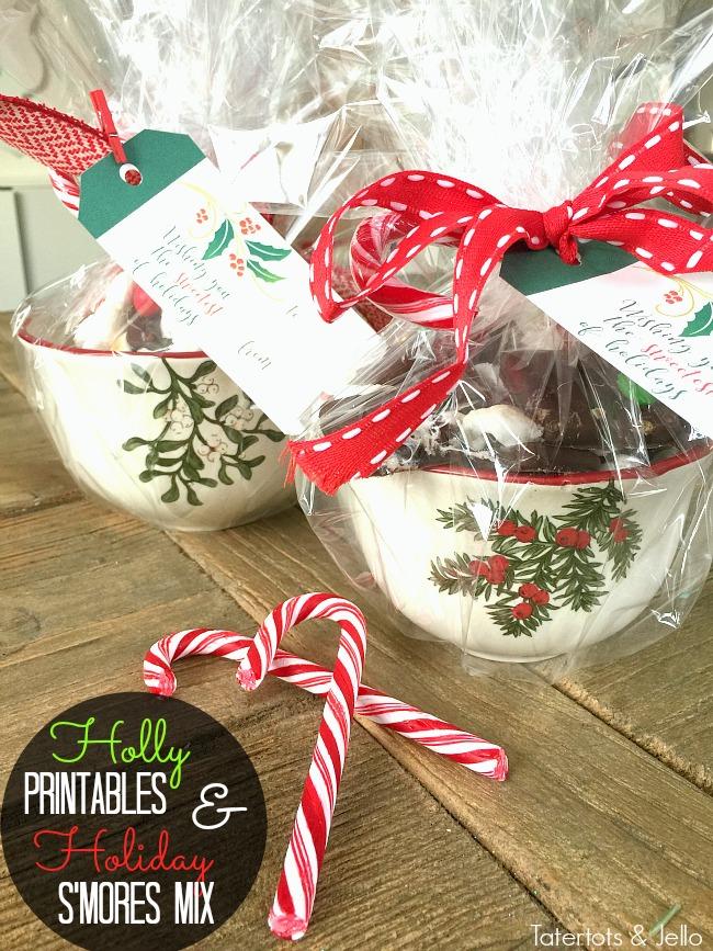 printable holly gift tags and holiday smores mix