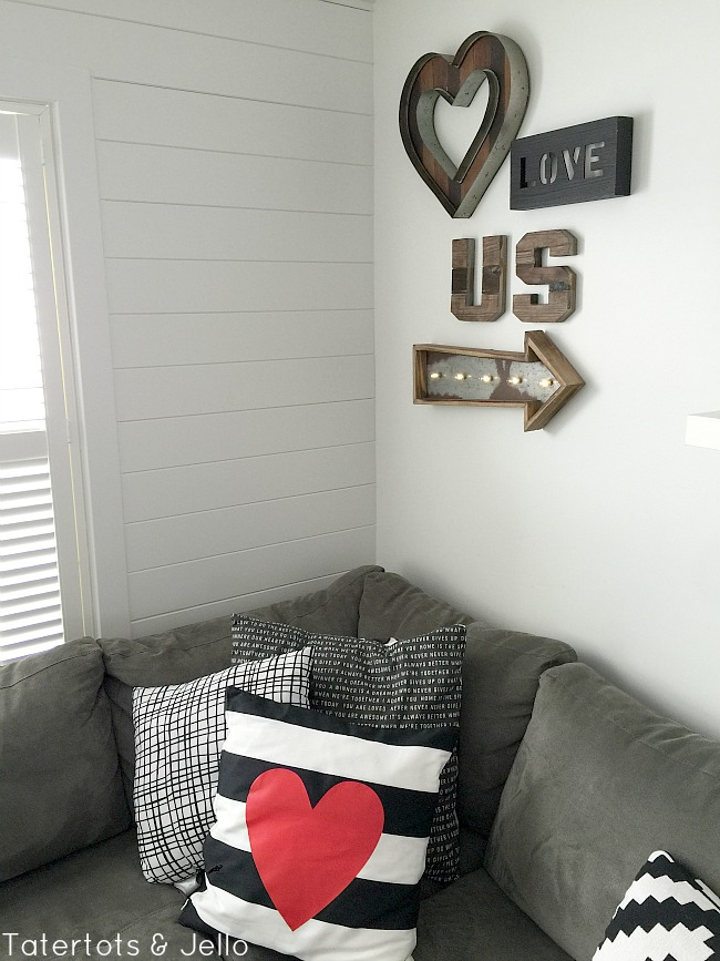 create a gallery wall with wood and
