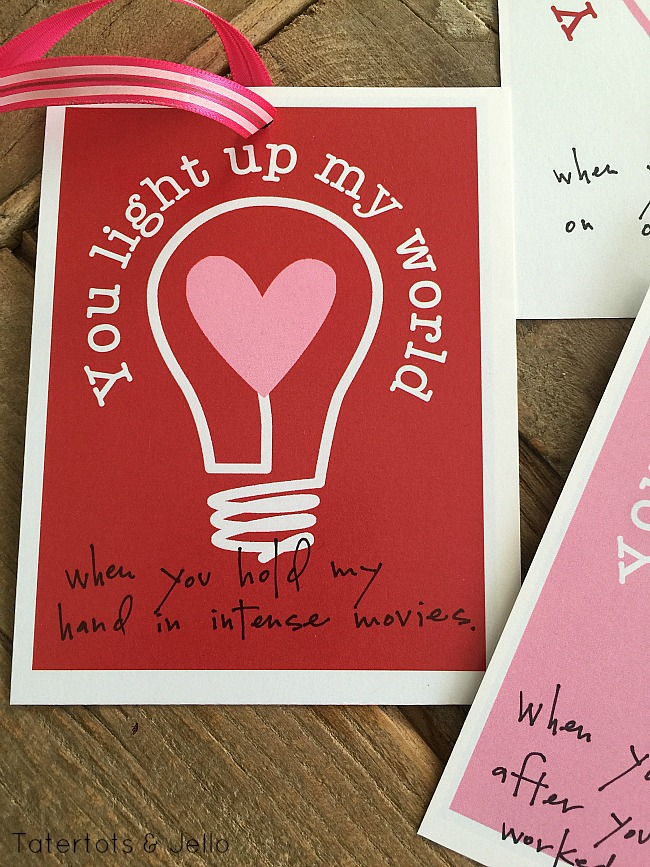 You Light Up My World Printable Valentines