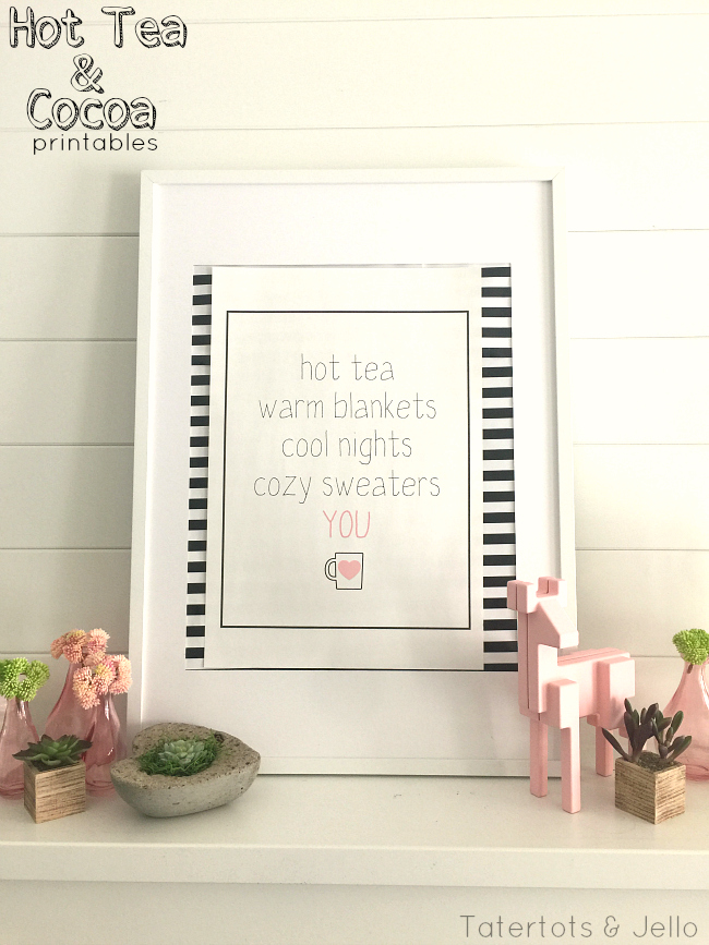 hot cocoa and tea free printables