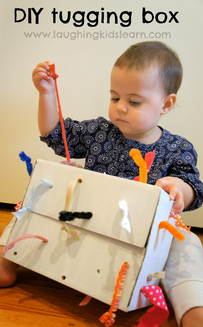 DIY Tugging Box Toddler Quiet Time Idea.