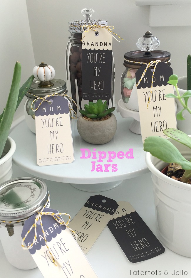dipped jar tutorial for mothers day