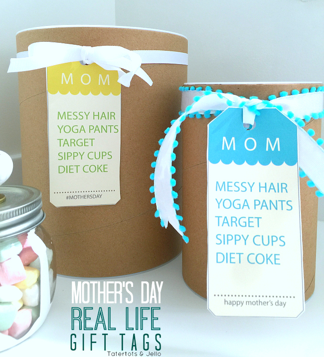 messy hair mom gift tags