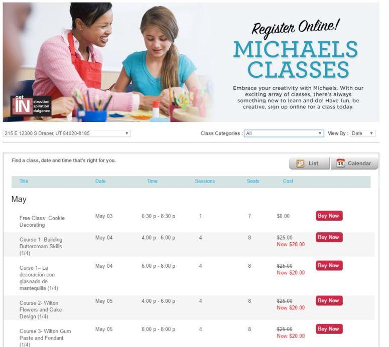 take a class at michaels