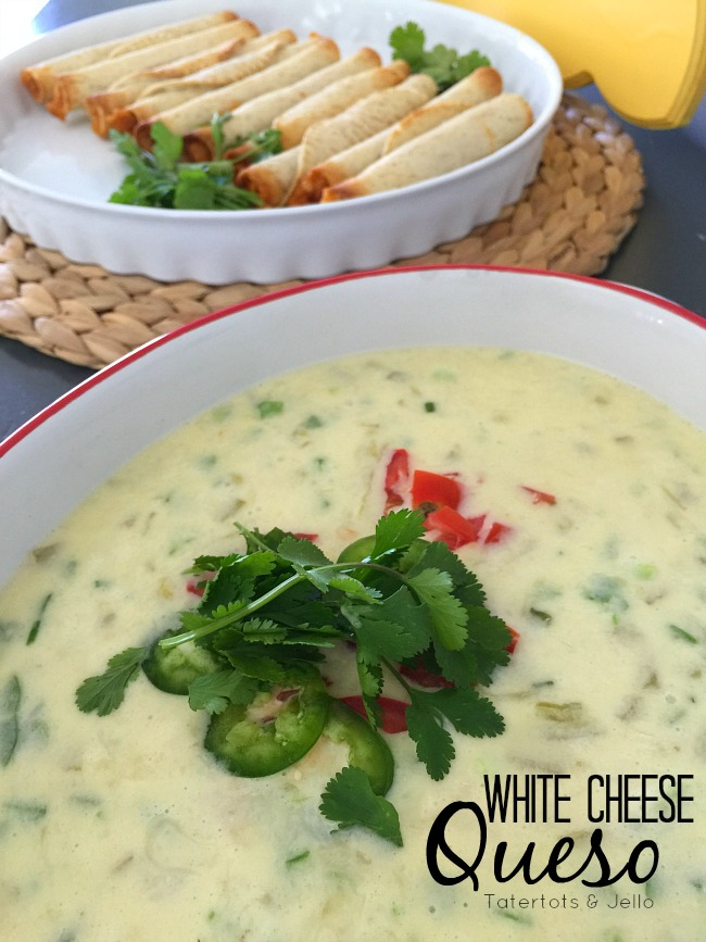 white cheese queso and tacquitos